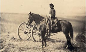 A civil war soldier on a horse